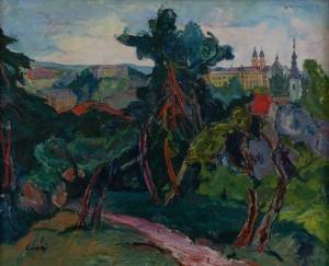 Ерделі А. 'Ужгородський замок. Резиденція єпископа', 1942, п.о., 100х121
