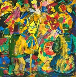 Christmas Games, 1992, tempera on canvas, 75х75