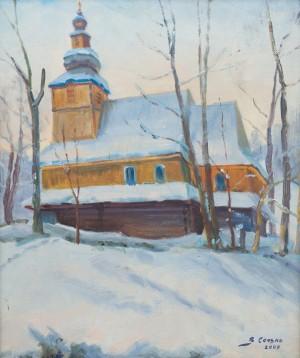 V. Senko Church In Podobovets Village', 2009, oil on cardboard, 58x49