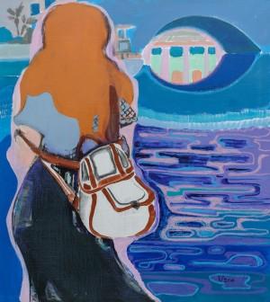 E. Kalytych Limassol Marina', 2018, acrylic, oil pastel, 80x90