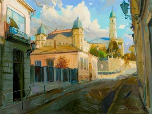 Cathedral in Uzhhorod, 2004, oil on canvas, 90x130