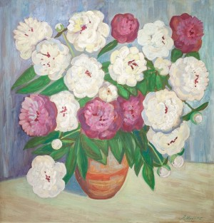 L. Mykyta 'Peonies', tempera on cardboard