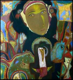 Панейко І. 'Карпатська Мадонна', 2007, двп, левкас, жовткова емульсія, темп