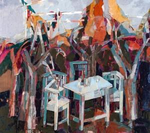 In The Autumn Garden, 2008, oil on canvas, acrylic, 90x100