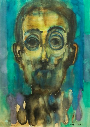 Self-portrait, 1990, watercolour on paper, 51x37