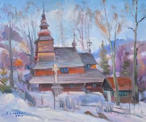 Сенько В. 'Церква в селі Розтока', 2019, п.о., 55х65