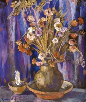 Сухі квіти зі свічкою, 2001, к.т. 50,5х42,5