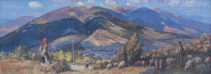 Verkhovyna, 1950s, oil on canvas, 60x161