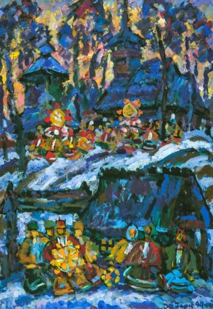 Christmas Motive, 2005, tempera on canvas,100х70