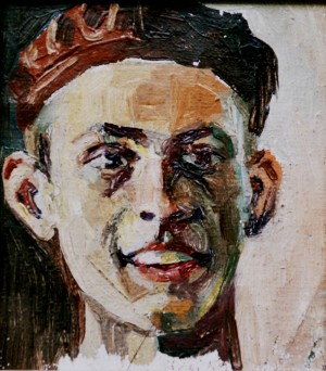Self-portrait, from the photo archive of Y. Nebesnyk, 1953, oil on canvas, 18x16