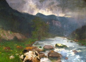 Stream in the Mountains, 1940s, oil on canvas, 100x170