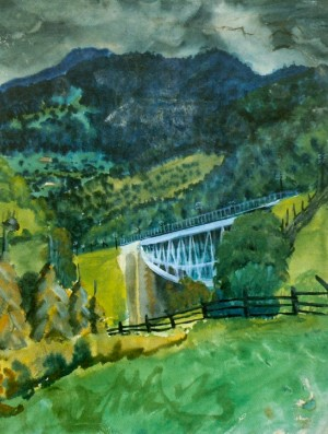 Віадук в горах, 1930, пап.акв. 29х38