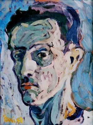 Self-portrait, from the photo archive of Y. Nebesnyk, 1957, oil on cardboard, 40x30