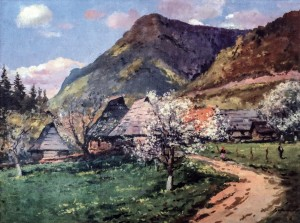 Spring In The Mountains, 1950s, oil on canvas on cardboard, 66.6x89.5