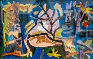 R. Selskyi A Stump In The Thicket', 1960, oil on canvas, 19,5x30,5