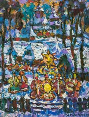 Christmas Day, 1990, tempera on canvas, 90х70
