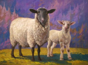 Sheep And Goat, oil on canvas, 60x45