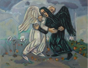 Two Angels, 2006, oil on canvas, 80x90