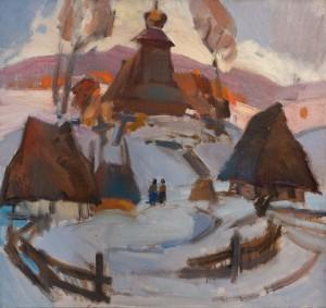 A. Kashshai Straw Huts', 1977, oil on canvas, 84x90