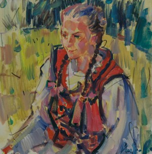 A. Kopryva In Sotmar Folk Clothes', 2018, oil on canvas, 50x50