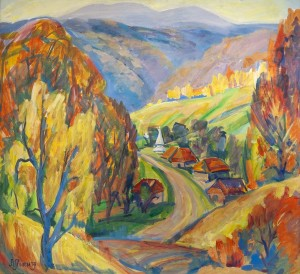 L. Mykyta 'Sobatyn Village', 1997, tempera on cardboard, 69x75