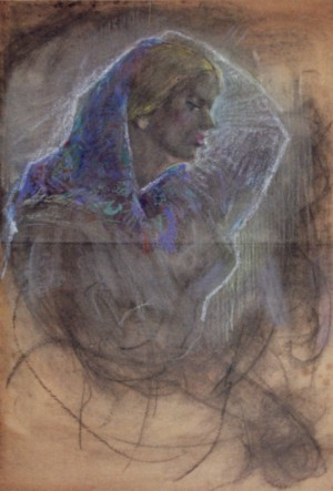 Womans Portrait, 1940, cardboard, pastel, 87x65