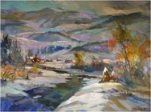 Verkhovynas Winter, the 1980s, oil on canvas, 60x80