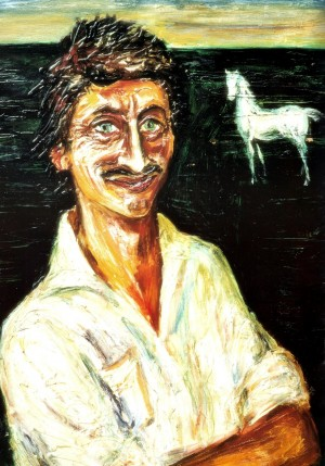 Y. Chernii 'Self-portrait With White Horse', 1981 oil on cardboard, tempera, 85x68