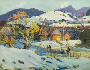 Verkhovynas Village In Winter, the 1960s, oil on canvas, 68x88