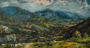 A. Sekeresh Nehrovets Village Before The Storm', 2009, oil on canvas, 45x80