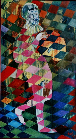 Harlequin, from the photo archive of Y. Nebesnyk, 1992, oil on canvas, 179x99