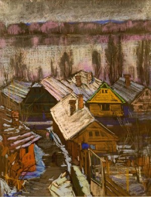 Evening. Huts On The Banks Of The Danube, 1979, oil on canvas, 95x76