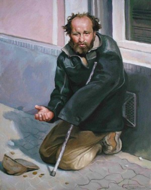A Tramp With The Crutch, 2010, oil on canvas, 50х40