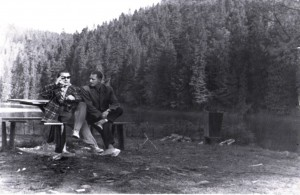 A. Marton and K. Yakubek in the plein air, Synevyr lake, 1958