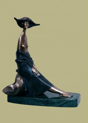 'Near the Sea', bronze, marble