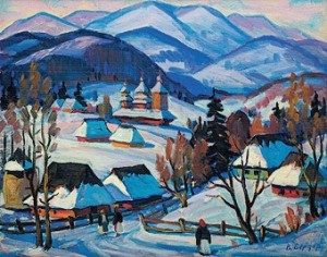 Village, 1993, oil on cardboard, 35x50