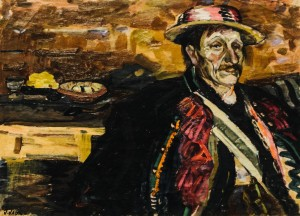 Y. Fedkovych from Zhabie village, 1961, cardboard, oil, 55,5х74