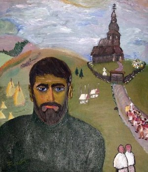 Self-portrait with church