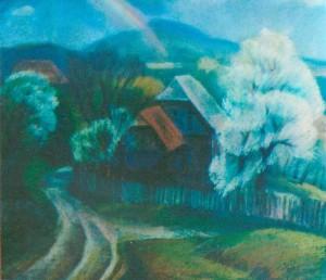 Rainbow 1998 pastel on paper 61x70