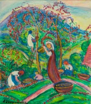 Збір яблук, 1980-ті рр., пап. змішана техніка 54,3х47,8