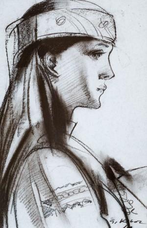 А. Kovach Portrait, paper, coal