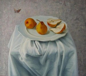 "Pears on white From the series ""Simple things"" oil on masonite, 60х68"