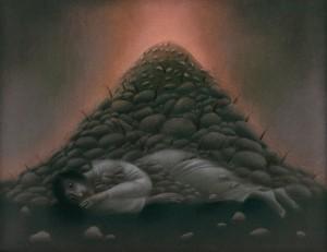 N. Ponomarenko 'Pyramid', 1989, pastel on cardboard, 55x69,5