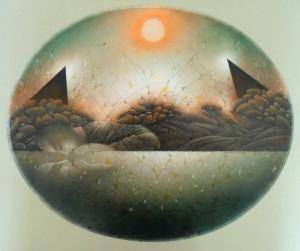 Вода, каміння, сонце,1990, пап. зм. техн.,36х44