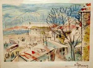 Зима, 1970, акв.пап., 23х16