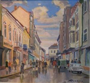 Uzhhorod. Korzo Street, oil on canvas, 1970s