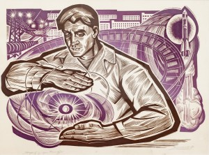 I. Stakhanov 'Energy' from the series 'Song Of Labour', 1974, coloured linocut on paper