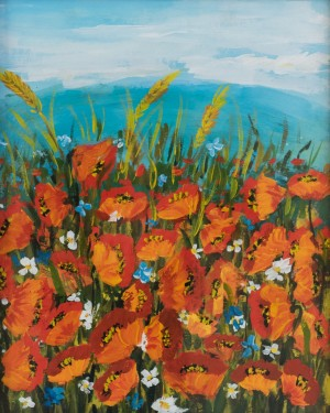 Triptych 'Poppy Field The work of a student of the art school 'Rom Art'