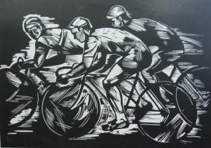 'Cyclists', 1966, linocut on cardboard, 29,5х41,5