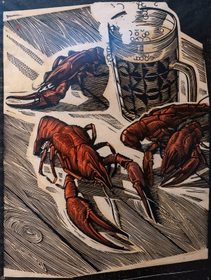 I. Stakhanov 'Beer, Crayfishes', 1980, coloured linorite on paper